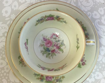Noritake Empire Tea Trio Vintage Rose Teacup Saucer Dessert Plate Set Occupied Japan Made Floral Bouquets