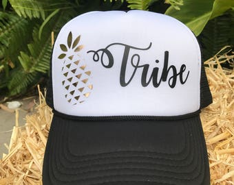 Pineapple Hat, Tribe, Pineapple, Trucker Hat, Pineapple Trucker Hat, Hat, Pineapple Tribe, Fruit, Summer Hat