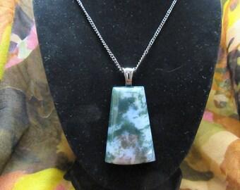 Deep & Dark - India Moss Agate Pendant with Chain   India Moss Agate Necklace   Freeform Agate India Moss Pendant