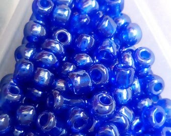 10 blue transparent frosted seed beads 8/0 g