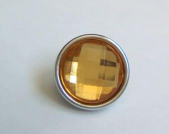 Snap chunk rhinestone metal yellow 12mm