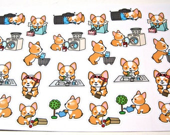 Corgi Dog Stickers - Dog Planner Stickers - Chore Stickers - Cleaning Stickers - Shopping Stickers - Laundry - Sweeping - Busy Corgis