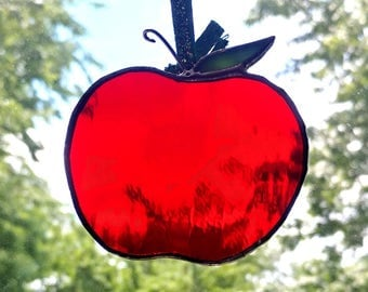 Stained Glass Red Apple Suncatcher and Ornament (Perfect Gift for Teachers)