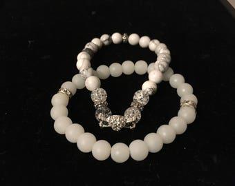 Natural White howlite gemstone round