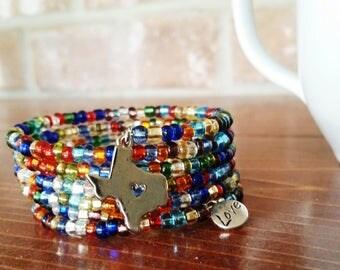Texas Multi Color Memory Wire Bracelet