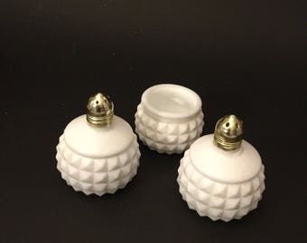 Vintage White Milk Glass Hobnail Salt And Pepper Shakers And A Hobnail Pill Container