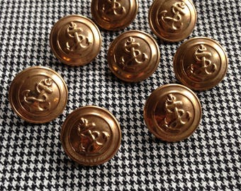 9 Vintage antique brass anchor uniform buttons, c1920s-1940s