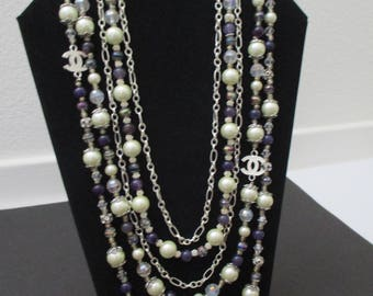 Designer & Vintage Inspired 5 strand necklace with deep purple glass beads, off white pearl and silver accents