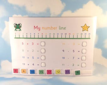 Number line to 20 with sums, learning sheet, KS1, year 1, Matching game, numbers to 20, numeracy, Visual learners, Early learning