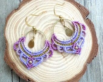 macrame earrings, hoop earrings, macrame jewelry (A03R)