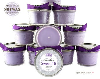 12 ct Purple and silver Sweet 16 favors, 4 oz personalized soy candles, quinceanera favors, bar mitzvah favors, prom or any occasion