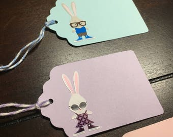 Easter tags, bunny tags, Easter Bunny Goodie Bag Tags, Hipster Bunny Tags, favor tags, Rabbit Gift Tags, Easter Class Party Name -8/order