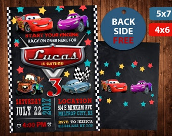 Disney Cars Invitation, Disney Cars Birthday Invitation, Disney Cars, Disney Cars Card, Disney Cars Invite Party, Disney Cars Printable