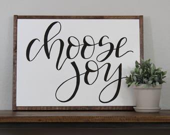 Choose Joy sign - MEDIUM framed sign - hand lettered sign - fixer upper - hand painted sign - farm house decor
