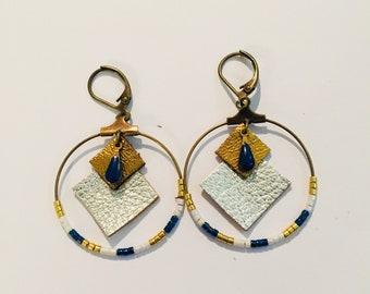 leather and miyuki beads earrings