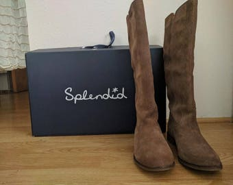 1990's Slendid Light Tan Suede Boots/Womens Size 8.5