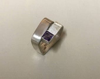 Squared Sterling Silver Amethyst setting ring