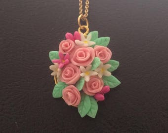 Pink flower clay necklace