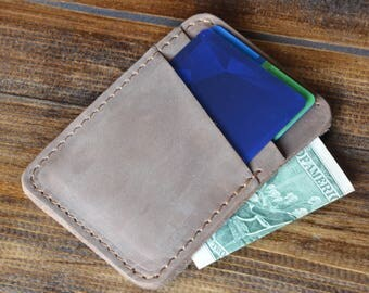 Personalized Slim Front Pocket Wallet, Men's Cardholder, Minimalist Wallet, Distressed Leather Cardholder, Perfect Gift for Him, Sand Brown