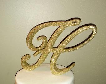 Custom Glittered monogram wedding cake topper letter, bling