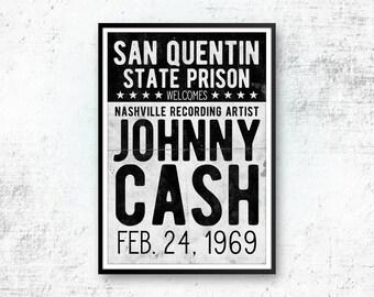 Johnny Cash Art Print, Johnny Cash Poster, Country Music, Johnny Cash Concert Poster, Retro Print