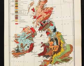 1919 Antique Geology Map of British Isles, Folding Colour Map, Geological Map, Lovely Colours