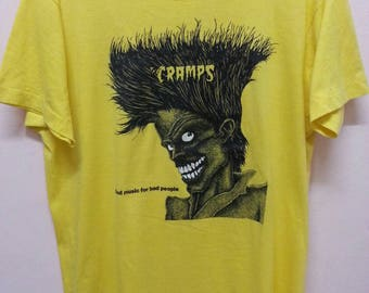 80s The Cramps T - shirts Bad music for the people vintage screen star poly / cotton Xl size of 80.s / Large size of 90.s Made in usa