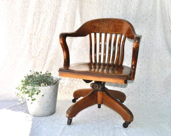 Vintage Solid Wood Bankers Chair | Wooden Captain's Chair | Oak Lawyers Swivel Chair | Old Library Chair | Mod Rolling Desk Chair |