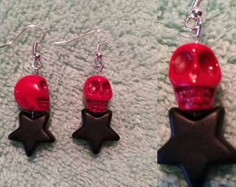 Red skull, black howlite star earrings