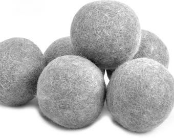 GRAY - Organic Wool Dryer Balls / Non Toxic Lifestyle / Organic Dryer Sheets / Fabric Softener / Static Free  Drying / Save Dryer Time