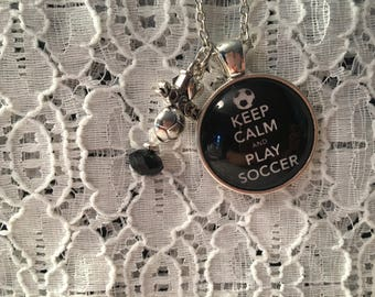 Keep Calm and Play Soccer Charm Necklace/Play Soccer Charm Necklace/Soccer Jewelry/Play Soccer Jewelry/I Love Soccer Jewelry