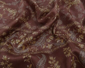 100% Indian Vintage Sari Craft Fabric Pure Silk Floral Mauve Printed Sarong Saree Used Sarong 5 YD VPS47331