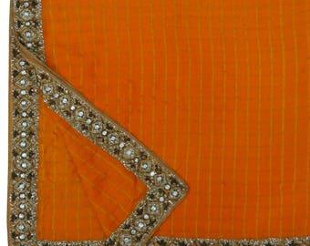 Indian Vintage Art Silk Orange Dupatta Long Stole Hand-Beaded Scarves Hijab Veil Indian Scarf Stole VDP32295