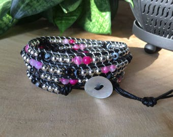 Wrap leather and agate bracelet