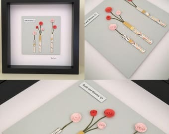 Flower 3D wall art, Framed paper quilling art, Flowers in a vase picture