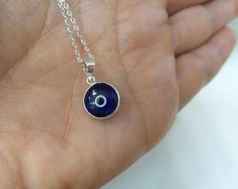 Evil Eye Necklace Sterling Silver/ Sterling Silver Evil Eye Pendant/ Delicate Evil Eye Necklace/ Protection Necklace/ Kabbalah Jewelry