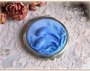 "Mirror handmade ""dolphin"" Mirror made of polymer clay Marine theme. Dolphins. gift. Christmas. birthday. Mirror for the girl."