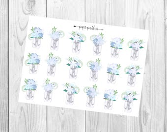 Floral Mason Jars, Planner Stickers, Scrapbook Stickers, Decorative