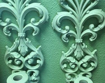 Vintage Shabby Chic Wall Candleholders, Vintage Wall Decor