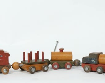 Vintage Wooden Toy Train, Toy Train, Train Pull, Vintage Toy