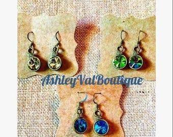 Bronze earrings, gold/greenish opal earring, bright blue earrings, drop earring, rhinestone earrings, sparking earrings, bronze earrings