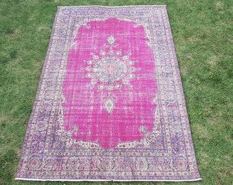 Free Shipping, 6'6'' x 9'8'' Vintage Oushak Rug, Vintage Turkish Rug, Low Pile Anatolian Carpet, Distressed Oushak Rug, Rugs, Carpet