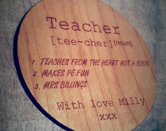 Circle Teacher coaster, Teacher gift, end of term