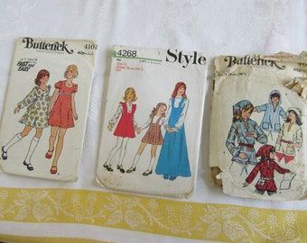 Vintage sewing Pattern Bundle- Girls Size 12