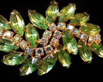 Lt Green and Iridescent Crystal Vine Brooch