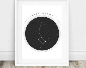 Ursa Minor - Little Dipper, Constellation Print, Galaxy Art, Solar System Poster, Ursa Minor Print, Little Dipper Poster, Astronomy Print