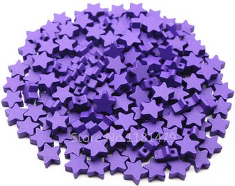 wood star beads 15 mm in violet 10 beads