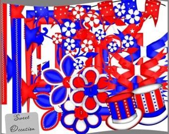 Patriotic Element Pack  Scrapbook, Digital Scrapbooking, Cardmaking