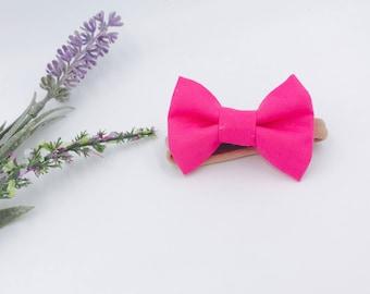 Baby Girl Bow Headband - Nylon Headbands - Hair clip - Infant / Toddler /  Fabric Hair Bows / Clips - bright pink