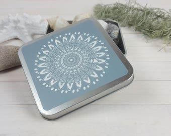 Blue Mandala aluminium box, Sacred Geometry wedding box, small box jewelry packing, women gift, wedding favor, box storage, yoga gift